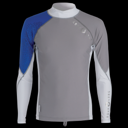 Mens Rashguard Ls Blue/gray/white (s)